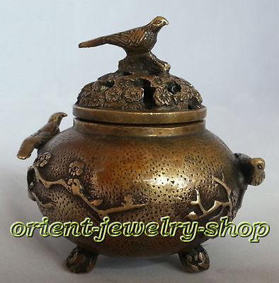 china antique style! Rare Vintage Tibet Copper Dragon bird Incense Burner Censer