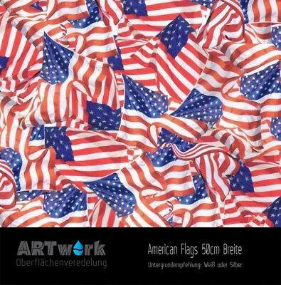 Flag Transfer (Wassertransferdruck Folie WTD Starterset 2m American Flags + Aktivator )