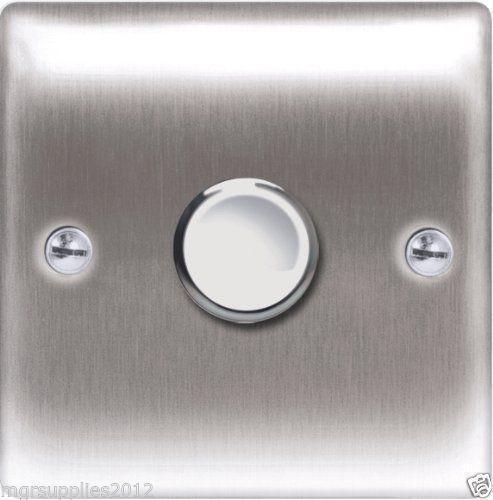 brushed chrome dimmer light switch ebay. Black Bedroom Furniture Sets. Home Design Ideas