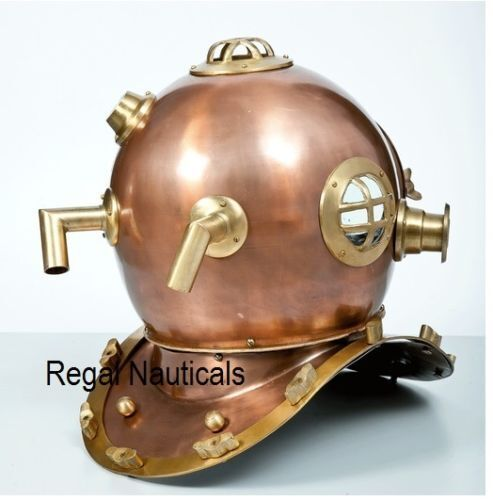 "US Navy Divers Diving Helmet Anchor Engineering Copper Antique Vintage 18"" Deep"