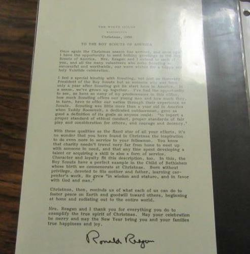 President Ronald Reagan Christmas Letter to the Boy Scouts in 1986