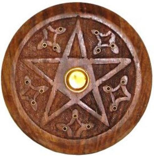 Wooden Pentacle Incense  Burner / Holder, WICCA - Cones & Sticks Pentagram
