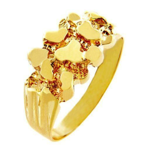 Mens Solid Gold Nug Ring