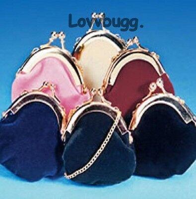 """Lovvbugg Pink Velvet Purse for 18"""" American Girl Doll Accessory"""