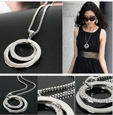 Jewellery - Long Chain Women Fashion Crystal Rhinestone Silver Plated Pendant Necklace Gift