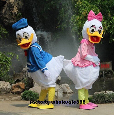 Halloween 2pcs Donald And Daisy Duck Mascot Suit Costume Adult Party Fancy Dress - Daisy Duck Costume Kids