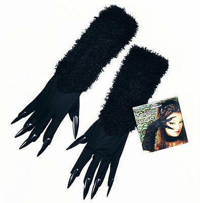 Cat Claws Costume (Black Cat Woman Fancy Dress Costume Gloves & Claws Halloween Witch)