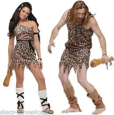 Damen UND Herren Paar Höhlenmensch & Höhlenfrau Kostüm (Höhlenmensch Und Frau Kostüme)