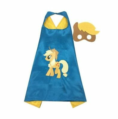 MY LITTLE PONY APPLE JACK Cape & Mask Set, Blue Girls Party Fancy Dress