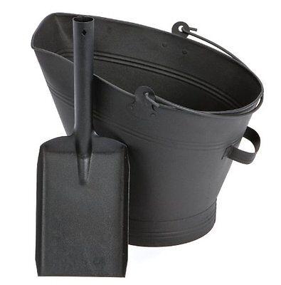 Black Waterloo Bucket and Shovel Set Coal Log Fire Ash Hod Scuttle Fireside