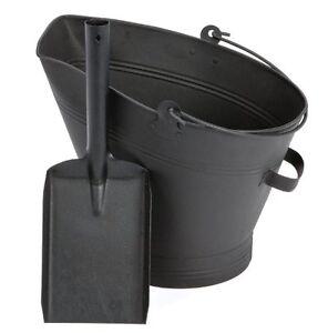 Black Waterloo Bucket and Shovel Set Coal Log Fire Ash Scuttle Hod Fireside