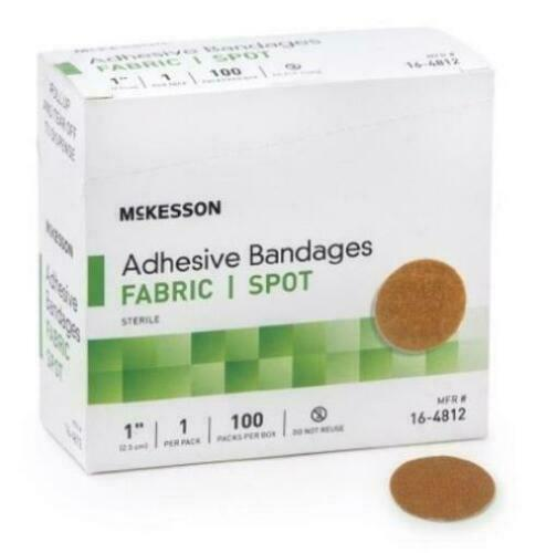 McKesson Adhesive Spot Bandage 1'' Diameter Fabric Round Tan