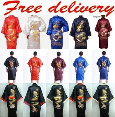 Men's Silk/Satin Japanese Chinese Kimono Dress Gown Bath Robe Nightwear 2018 -