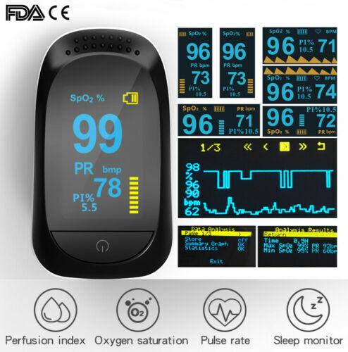 OLED Pulse Oximeter Fingertip Blood Oxygen SpO2 Monitor PR PI heart rate FDA CE
