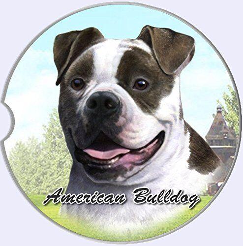 American Bulldog Car Coaster Absorbent Keep Cup Holder Dry Stoneware New Dog Pet