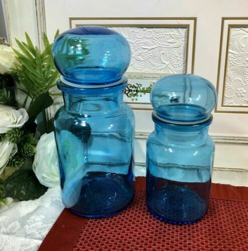 2 Vintage RARE Turquoise Blue Apothecary Bottle Made Belgium / Lidded jars - 2