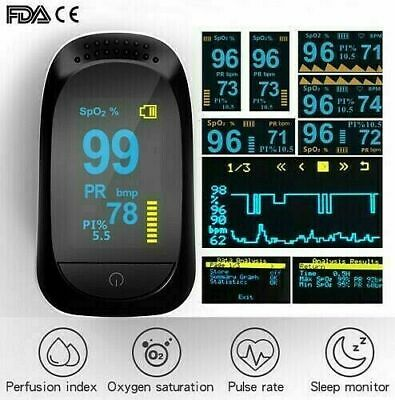 Oximeter Pulse Finger Blood Oxygen Sensor Spo2 Monitor Pr Pi Heart Rate Fdace