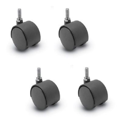Four Furniture Casters 2 Twin Wheel Threaded Stems 516 Dia
