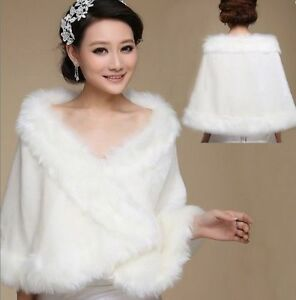 White or Ivory Velour & Fur Capes Stoles Short Coats S, M, L, XL