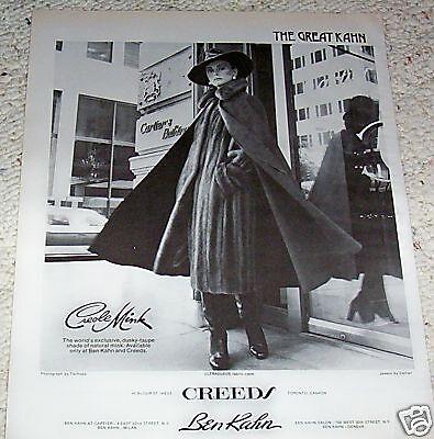 1975 print ad - Ben Kahn Creole Mink fur Coat - Vintage magazine page ADVERT