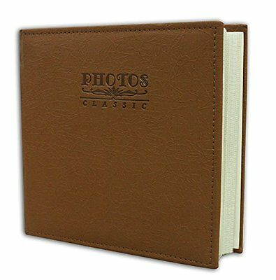"""Faux Leather  Cover Marron Brown Photo Album Holds 200 4""""x6"""" pictures 2 per pag"""