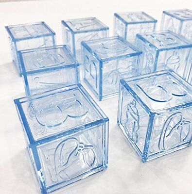 24 pcs Light Blue Plastic Baby Boy Shower Favors Blocks Party Decorations