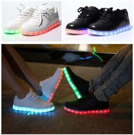 Unisex Men Women USB Charging LED Light Colour Changing Flashing Shoes, White/Black/Silver/Gold