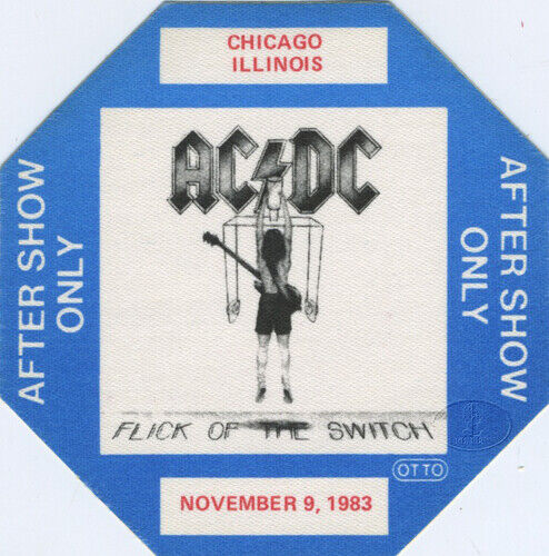 AC/DC 1983 Flick/Switch Tour Backstage Pass Chicago