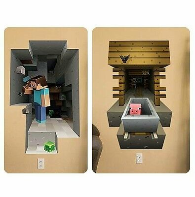 Minecraft 3D Wall Stickers Set Of 2 Steve   Pig Great Video Game Birthday Gift