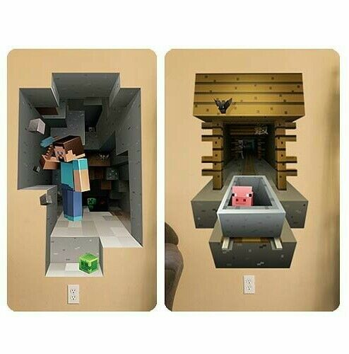 Minecraft 3d Wall Stickers Set of 2 STEVE + PIG Great Video Game Birthday Gift!