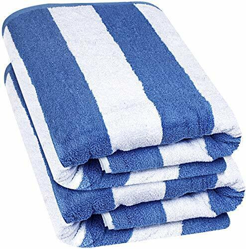 "Beach Towel Large Cabana Striped Blue Cotton 35x70"" Wholesal"