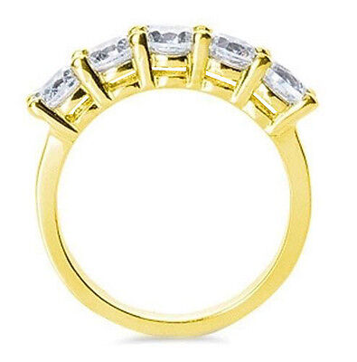 1.5 ct 5 Round Diamond Anniversary Band 18k Yellow Gold Ring G color SI1 clarity