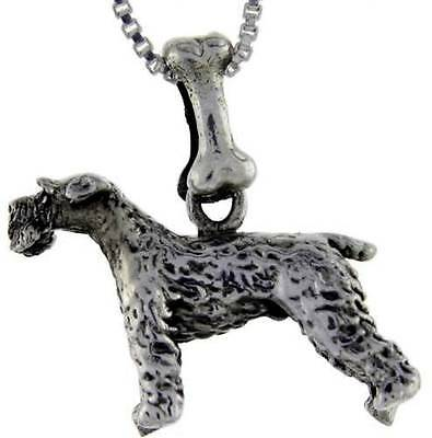 (Sterling Silver Kerry Blue Terrier Dog Pendant Charm)