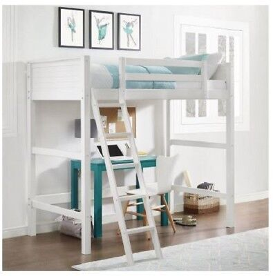 Twin Bunk Loft Bed Over Desk With Ladder Kids Teen Bedroom White Wood (Wood Loft Bed)