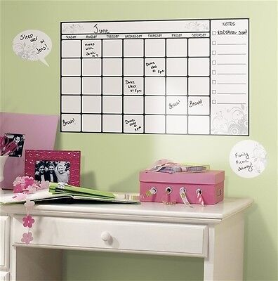 CALENDAR+WALL+STICKERS+7+decals+home+office+college+dorm+dry+erase++room+decor