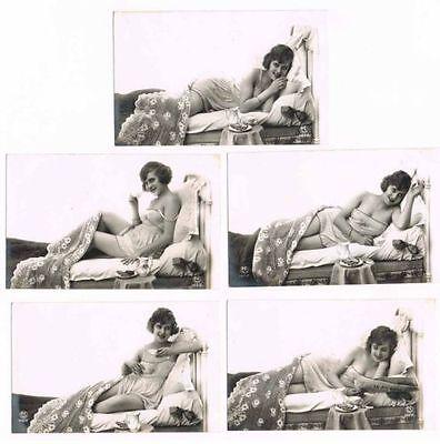 5 NUDE PHOTOS c.1900 risque sexy nue féminin / P.C. Paris 1492