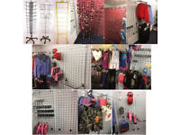 619 Item Joblot of Retail Shop Fittings Gridwall Panels Display Arms Accessories Clothing Hats Stand