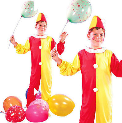 Childrens Kids Clown Fancy Dress Costume Circus Halloween Childs Outfit L