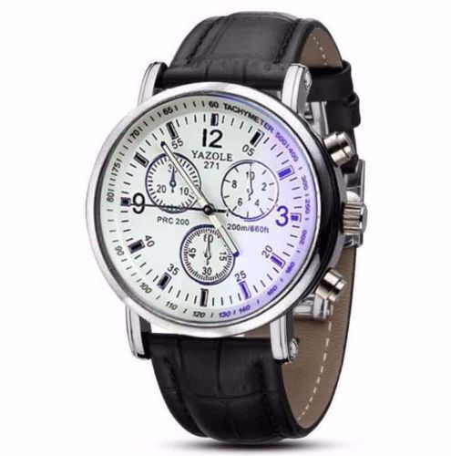 $13.99 - Hot Luxury White Black Leather Stainless Steel Dress Fashion Men Quartz Watch