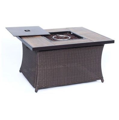 Fire Pit Coffee Table with Woodgrain Tile-Top-wood grain tile top ()