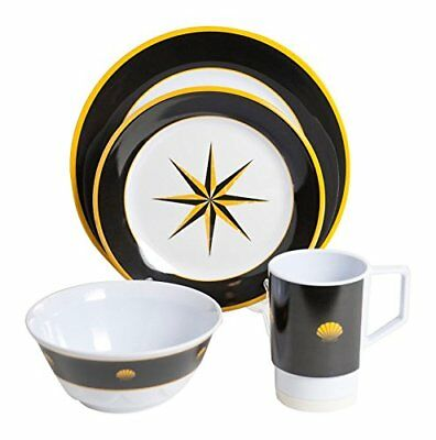 Galleyware Black Compass 24 Piece Melamine Non-Skid Dinnerware Set (Non Skid Dinnerware)