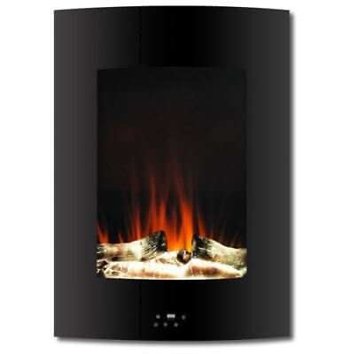 19.5 In. Vertical Electric Fireplace in Black with Multi-Color Flame