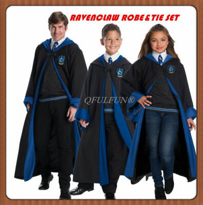 Halloween Harry Potter Cosplay Costume Ravenclaw Robe Cape Cloak WithTie  - Halloween Costumes Black Robes