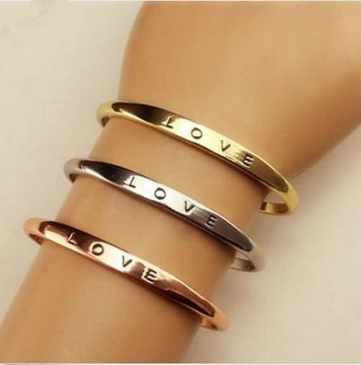 Fashion Women Gold/Silver Plated LOVE Bracelet Jewelry Charm Cuff Bangle Gift ()