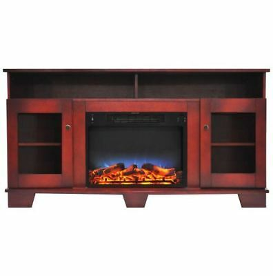 59 In. Electric Fireplace in Cherry with Stand and Color LED Flame