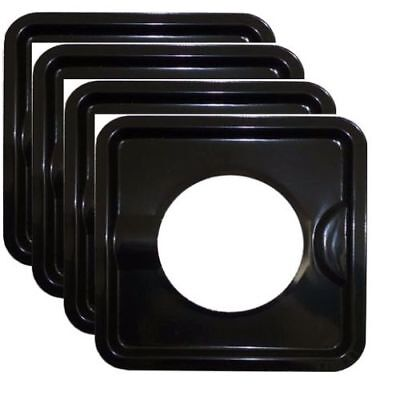 Pan Solid Cover (HEAVY DUTY BLACK STEEL SQUARE REUSABLE DRIP PAN GAS BURNER BIB LINER COVERS AD28 )