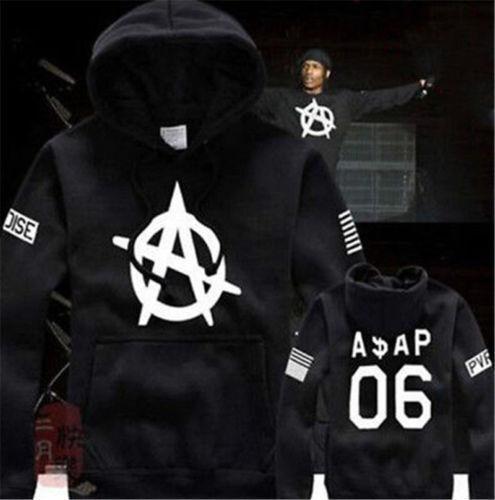 BLACK Hoodie  A$AP  VSVP NWA 2 PAC Mob Kanye Pullover Asap Rocky Old English