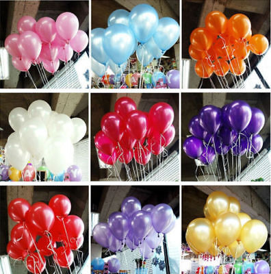 100Pcs Colorful Pearl Latex Balloon Celebration Party Wedding Birthday 10 inch (Color Balloons)