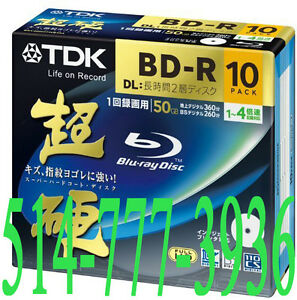 10 X Blu-Ray BD-R DL 50Gb TDK Vierges Double Layer Printable