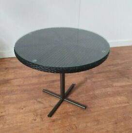New Black Rattan Outdoor Glass Top Bistro Table 800mm Round Cafe Bar Patio